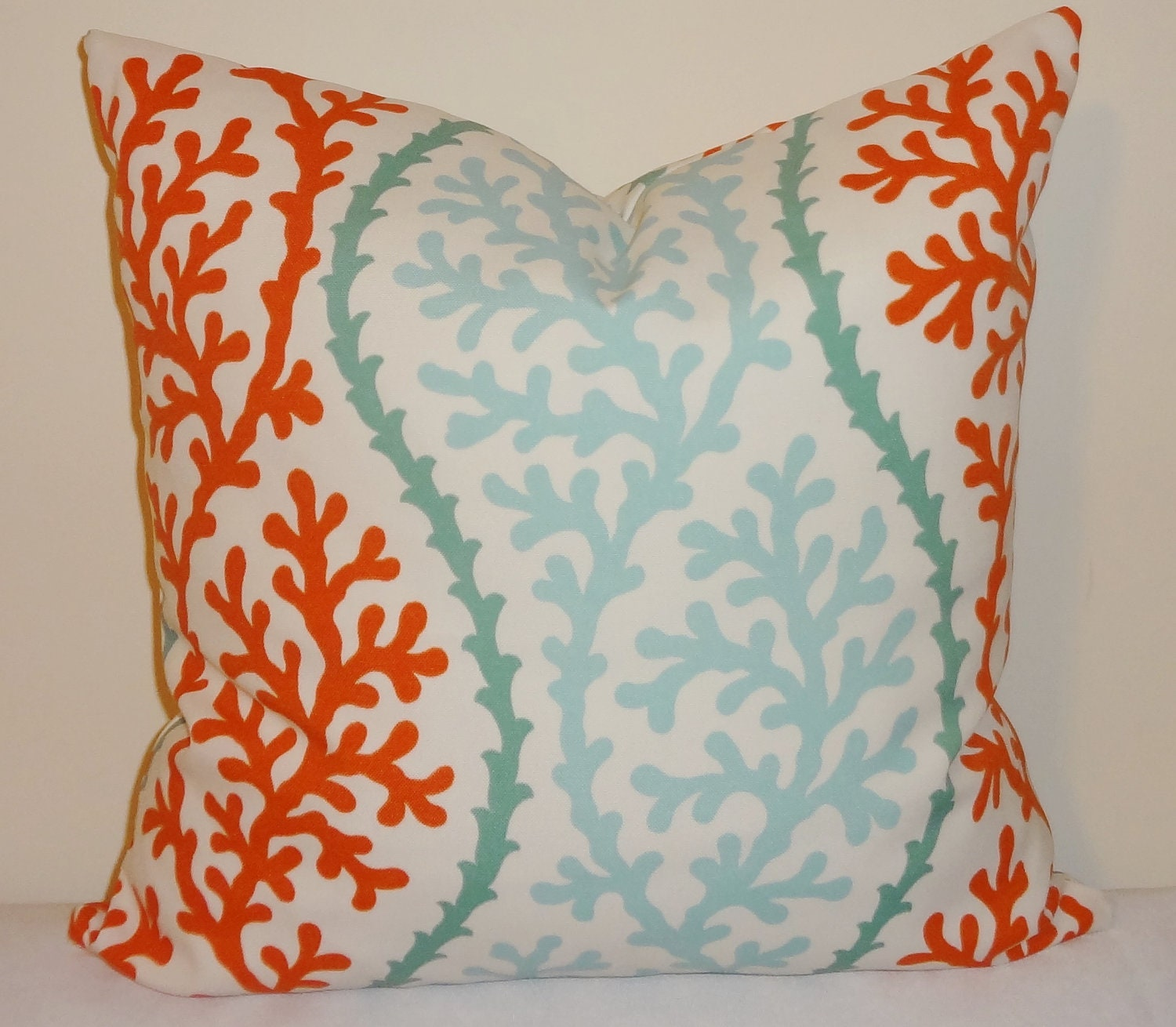 outdoor turquoise cororange coral pillow cushion covers coral. Black Bedroom Furniture Sets. Home Design Ideas