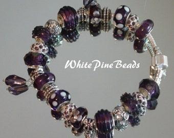 PURPLE European Style Charm  Bracelet Dark Purple Plum Handmade with Murano Glass Lampwork Bead