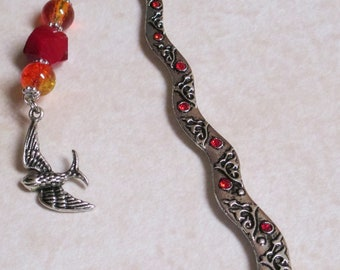 Hunter Fire Birdy Forest Sparkly Beaded Metal Bookmark Back to School