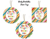 """Fiesta Party - Thank You Favor Tags - 2"""" Party Circles  - DIY Party Printables -INSTANT DOWNLOAD and Print"""
