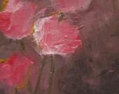 Matisse's Garden. 6x6 on wood panel. Original modern abstract floral still life.