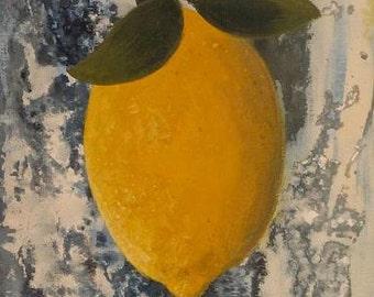 Falling Lemon in Acid Sky. Original 8x10 modern still life by the Artist.