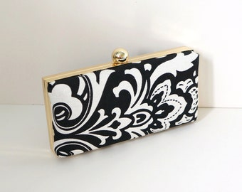 Chic Black and White Clamshell Clutch Purse
