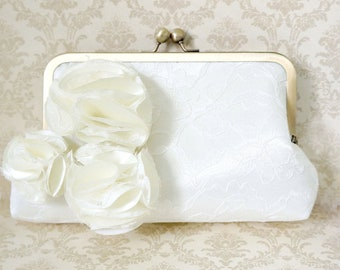 Ivory Lace Bridal Clutch Purse with 3 Handmade Pom Pom Flowers- Custom