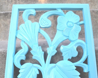 Aqua Carved Wood Wall Hanging Beach Cottage Coastal