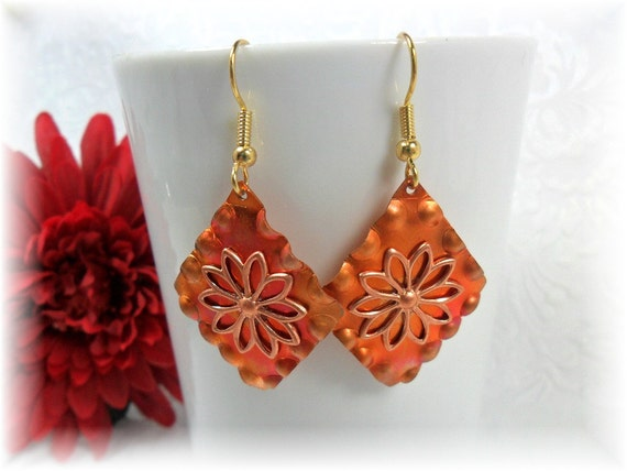 Copper Earrings With Fire Patina