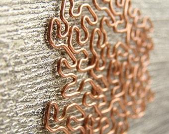 Fractal Necklace - Peano-Gosper in Raw Copper