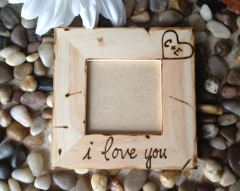 Valentine's Day Personalized Frame with Carved Initials and I Love You - Rustic Wedding Anniversary Engagement Gift Boyfriend Girlfriend