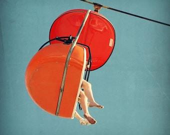 carnival photography, mid century print, santa cruz boardwalk, orange art print - SkyGlider I,  fine art photograph