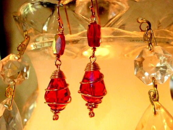 RED CRYSTAL Dangle Earrings Wire Wrapped in Copper Wire. Crystal Dangle Earrings, Crystal Jewelry