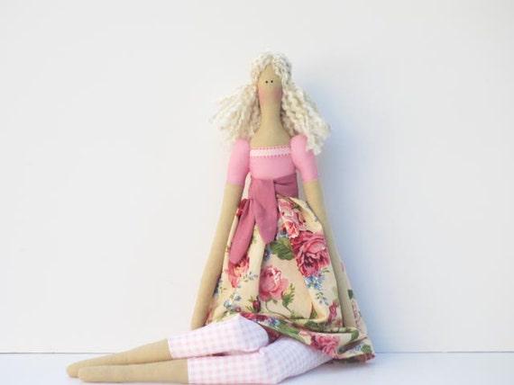 Pretty fabric doll in pink rose dress- blonde Tilda style,cloth doll,art doll cute stuffed doll, rag doll - gift for girls and mom