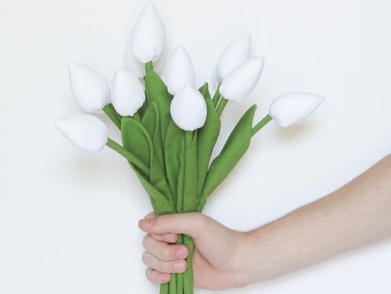 Reserved for Nas - Dozen of tulips white flowers- bouquet fabric flower -gift idea for girl and mom. Gift for birthday