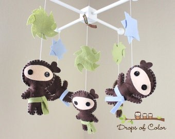"""Baby Crib Mobile - Baby Mobile - Ninja Mobile - Boy Mobile """"Ninjas Under Attack Mobile"""" (You can pick your colors)"""