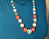 Coral Turquoise extra large necklace, pale pink quartz, rare pink turquoise beads, transparent beads, chunky necklace