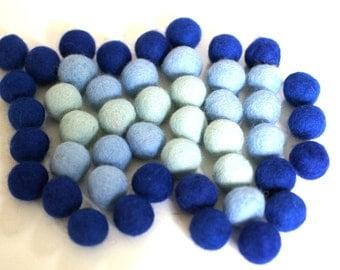 100% Wool Felt Balls, multicolor shades, 50 pcs, 1 inch (2.3 cm), pure wool, Mix Wolke
