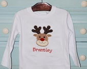 Custom boutique personalized appliqued monogrammed Christmas Reindeer applique onesie t shirt tshirt tee boys girls long sleeve short sleeve