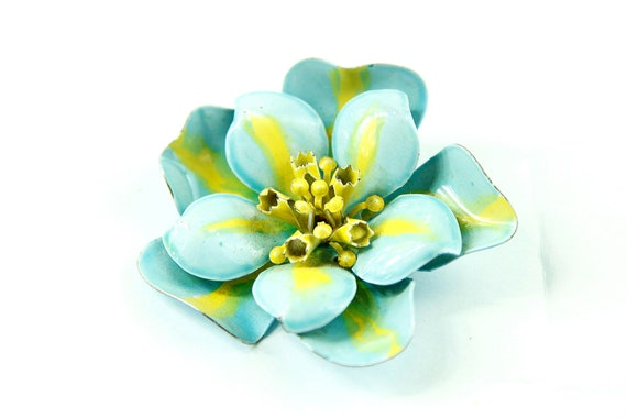 Vintage 60s Baby Blue Flower Brooch