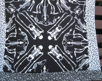 "14"" x 14"" PILLOW COVER - OSTEOLOGY Medical Science Room - Human & Animal Skeleton Bones"