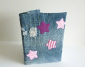 Denim cover notebook - stars -  eco friendly recycled jeans t shirts - large journal with denim cover -