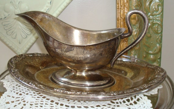 Silver Plate Gravy Boat-Platter-Sauce Boat-Patina-Shabby Chic-Cottage Style.