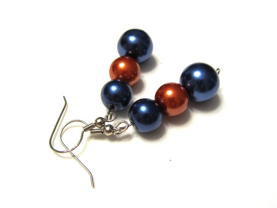 SALE Blue and Orange Glass Pearl Dangle Earrings
