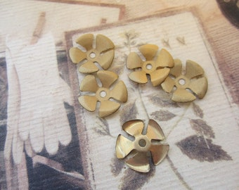 Vintage Brass Textured Flower Stampings With Rivet Hole 6Pcs.