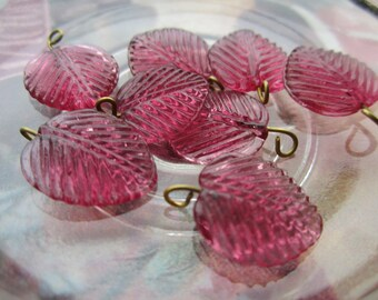 Wired Glass Leaf Charms Or Drops Rose 16mm 8Pcs.