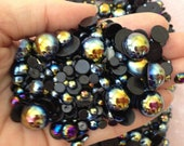 300pc Black AB Assorted Size Flat Back Pearls Cabochons pac-pearl-ab-mixed-black