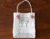Bag, Lace gift bag with flower ornaments for weddings and baby showers, Flower girl bag, Easter bag