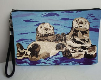 Sea Otter Pouch with detachable strap - From My Original Painting, Best Friends