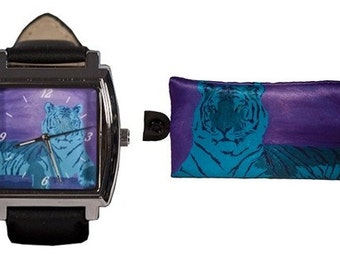 Tiger Watch and Matching Tiger Key Case by Salvador Kitti - From My Painting, A Watchful Queen