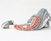 Gray orange necklace Multi strand grey linen necklace crocheted with tangerine glass beads Gift for her under 25 Rustic jewelry Boho