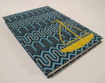 Sail Boat Handmade Journal Notebook: Blue and Yellow Sailboat Hardbound Book