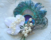 Peacock bridal headpiece. Stunning-Exquisite Peacock Feather Hair Clip.Swarovski and Czech pearls and crystals with leaves. -SUNITHA-