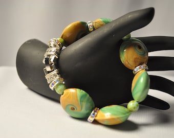 LAMPWORK glass Lentil shape bead bracelet-Spanish Song