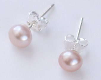 small pink pearl studs - blush pink freshwater pearl sterling silver 5mm stud earrings
