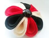Red Black and Cream Harlequin Felt Corsage