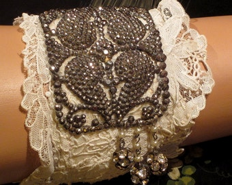 OOAK Heart Wrist Cuff Made From Antique Laces
