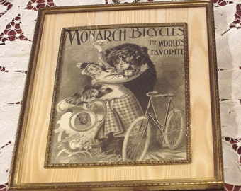 Antique Bicycle Ad Framed by Decojumeau