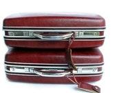 Two Vintage Samsonite Luggage Suitcases Oxblood Silhouette