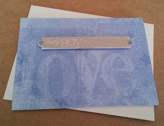 Baby Boy, Handcrafted Card, Blank, New Baby, Expecting Baby, Congratulations