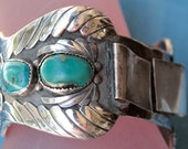 Vintage Navajo American Indian Sterling Silver Turquoise Heavy Large Watch Band Signed JB