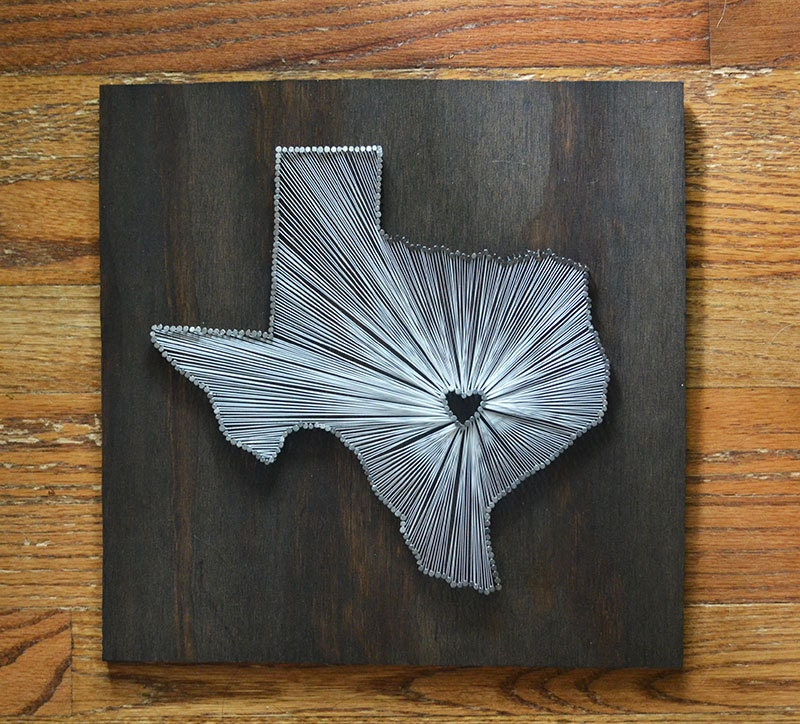 Stained texas state string art austin texas stained nail - String art modele ...
