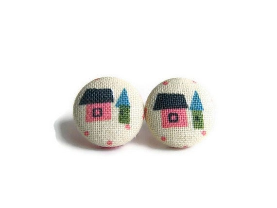CLOSING SALE - Pink Home Tiny Fabric Button Earrings