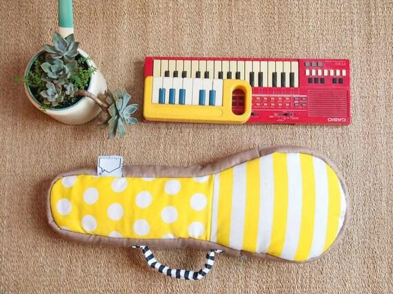 SALE- Yellow Submarine - White and yellow stripe ukulele bag (Soprano Size) - Ready to ship