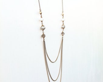 Gold plated chain loop necklace, book page and glass beads