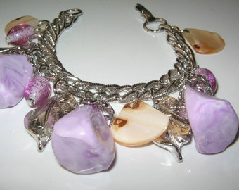 VINTAGE HUGE CHUNKY Purple Coro Charm Bracelet Retro 1950's, 60's