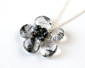 Black Needles Statement Flower Pendant Necklace Gold