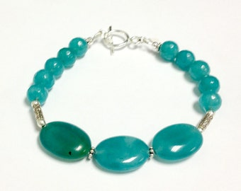 Blue Bracelet - Jade Jewellery - Sterling Silver - 925 - Gemstone Jewelry - Beaded Bracelet - Everyday