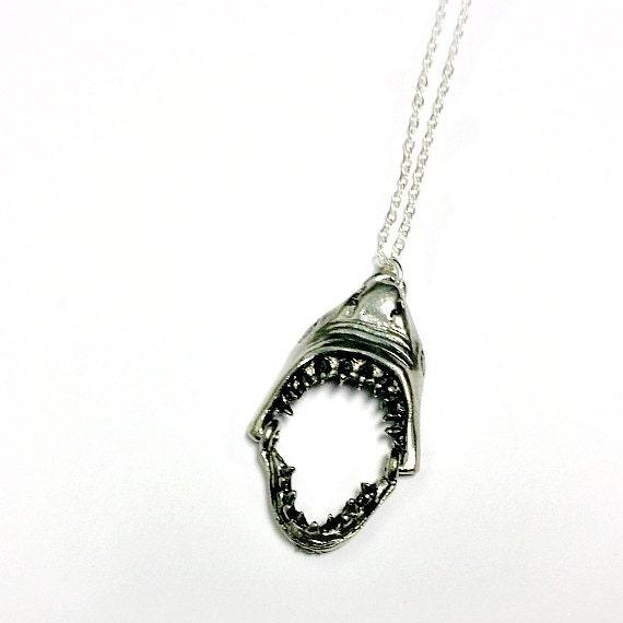 Shark necklace shark head pendant moveable jaws teeth like this item aloadofball Gallery